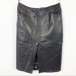 VAKKO Genuine Leather Pencil Skirt w/Slit Black